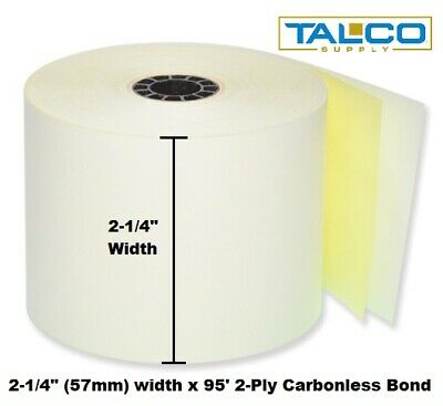 "2-1/4"" x 95' 2-PLY CARBONLESS PoS RECEIPT PAPER - 6 NEW ROLLS * FREE SHIPPING *"