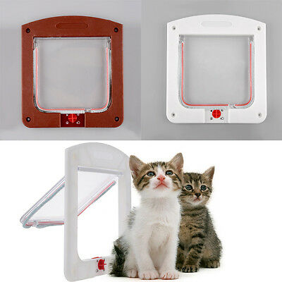 4 Way Pet Cat Kitty Small Puppy Lockable Flap Door Tunnel White/Coffee