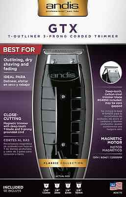 Andis GTX T-Outliner 3-Prong Corded Trimmer #04775 Close Cutting T-Blade - NEW