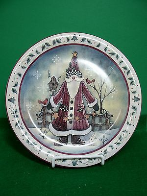 Santa Claus, Holly, Primitive Christmas Plate