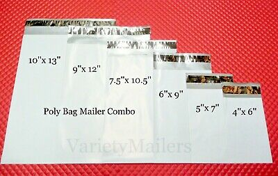 150 Poly Bag Mailing Envelope Variety Pack ~ 6 Sizes ~  Free Priority Shipping!