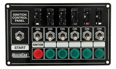 QuickCar Fused Ignition Control Panel Black 6 Toggles/ 1 Push Button/ 6 Lights