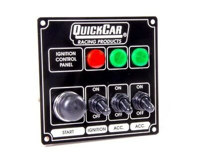 QuickCar Ignition Control Panel Black 3 Toggles/ 1 Push Button/ 3 Lights