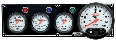 Quickcar 3 Gauge Panel w/ Tach Black Three guages Tachometer Water Temp Oil Fuel