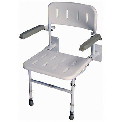 Mobility Bathworks Wall Mount White Fold Down Shower Seat with Padded Arms