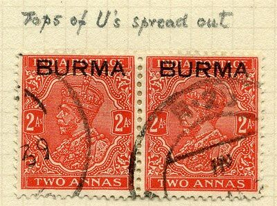 BURMA; 1937 early GV Optd. issue fine used OPTD. VARIETY on 2a. pair