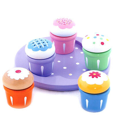 Brand new in box wooden pretend play Cupcake toy  Set of 5 with serving plate