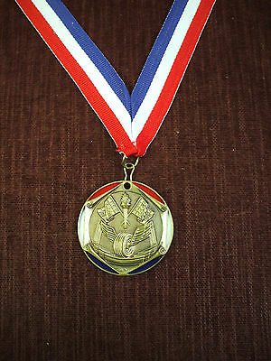 gold pinewood derby medal red white blue neck drape cub scout trophy