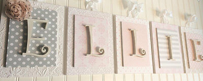 Pink and Gray Nursery,Nursery Letters,Girls Nursery Wall Art,Pink Letter 8 x 10