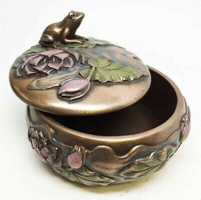 Art Nouveau Frog on Lily Trinket Box Gift and Decor Collectible Bronze Finish