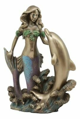 Art Nouveau Ariel Mermaid and Dolphin Gift and Decor Collectible Bronze Finish
