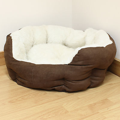Small Brown/Cream Luxury Plush Soft Cat/Dog/Puppy Pet Bed Furry/Comfy/Warm S