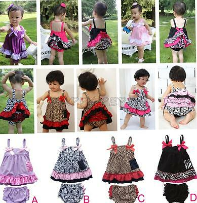 2PCS Girls Baby Infant Bowknot Ruffle Top Pants Set Bloomers Outfit Cute 6-24M