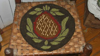 "Primitive Hooked Rug Pattern On Linen ""butter Mold Series Prim Pineapple"""