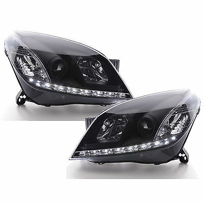 Vauxhall Astra Mk5 H 2004-2010 Black Drl Devil Eye R8 Projector Headlights Pair