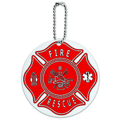 Fire and Rescue Maltese Cross Red Round Luggage ID Tag Card Suitcase Carry-On