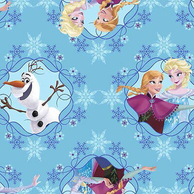 Disney Frozen Anna Elsa Olaf Snowflakes Licensed Girls Quilt Fabric FQ Free Ship