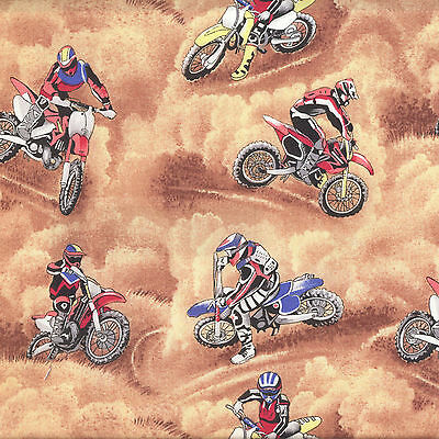 Motocross Dirt Bikes Motorbikes Motorcycles Boys Quilt Fabric FQ or By Metre NEW
