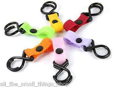 Pushchair Pram Buggy Stroller Shopping Bag Velcro Clip Strap Hook Hanger Camping