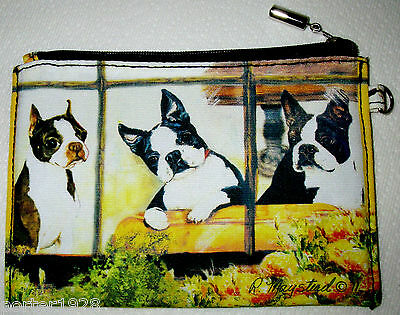 BOSTON TERRIERS - Zippered Pouch by Ruth Maystead - full color design both sides