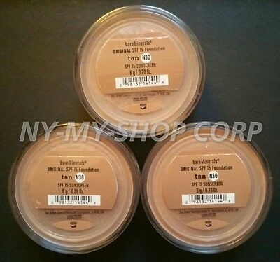 bareminerals Tan N30 8g XL - Bareescentuals foundation SPF 15  Lot of 3