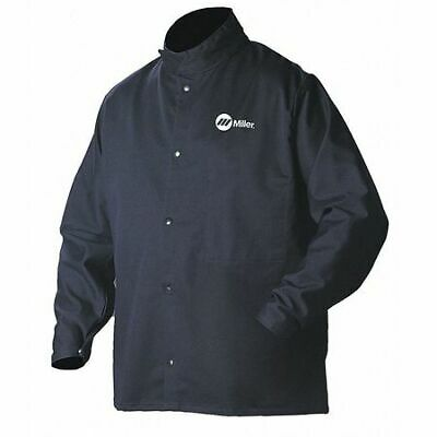 ArcArmor Welding Jacket,Navy,Cotton/Nylon,4XL MILLER ELECTRIC 244756