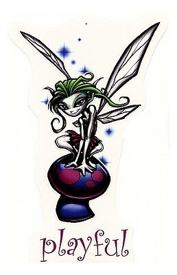 Playful Green Haired Fairy On A Magic Mushroom Vinyl Tablet Sticker/ Bike Decal