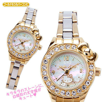 Sanrio Hello Kitty Ladies Wrist Watch Silver Gold Crystal Ribbon From Japan F/S