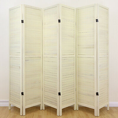 Cream 6 Panel Wooden Slat Room Divider Home Privacy Screen/Separator/Partition