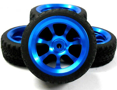 AA1007B 1/10 Scale RC Car On Road Wheel and Tread Tyre Blue Alloy 7 Spoke 4