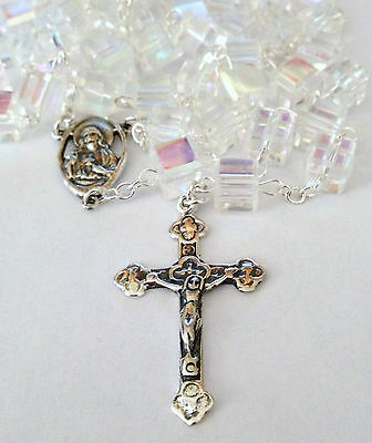 Sterling Silver Crystal AB Cube Sacred Heart Catholic Prayer Rosary Beads