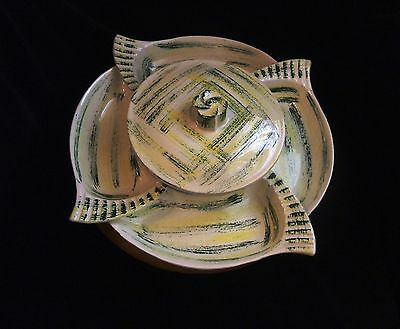 Vintage Ceramic Dark Green Chartreuse on Cream Lazy Susan with Lid Wood Base