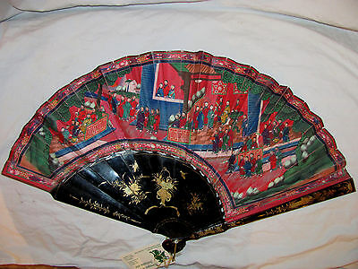 Antique Chinese Applied Faces Fan Lacquered Sticks Circa 1875