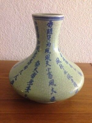 Japanese Vase /Asian Vase with unique Shape light Green and Blue