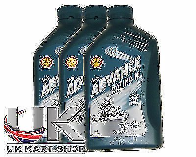 Shell Advance Racing M 2 Stroke Oil 1L x 3 Rotax Max Iame X30 TKM UK KART STORE