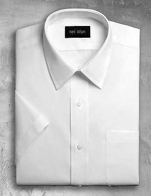 NWT. Size XS - 5XL. Men's White Lay-Down Collar Dress Shirt with short sleeves.