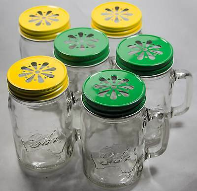 6 x 500ml Ozi Handle Jars 3 x Yellow 3 x Green Lids Beer Wine Drinking Smoothies