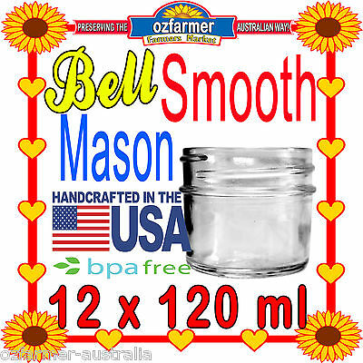 12 x Bell Mason Smooth 4oz 120ml Jars Baby Food Candle Making Canning BPA Free