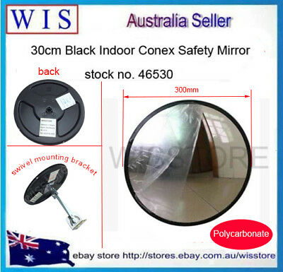 300mm Black Indoor Convex Security Safety Mirror,Unbreakable,Wide Angle-46530