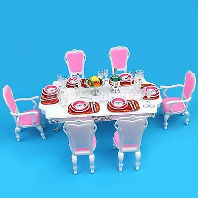 Dining Room Furniture Kitchen Table Chairs Play Set For Barbie Dollhouse