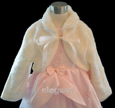 Ivory Faux Fur Flower Girls Children Wedding Long Jacket Coat Wrap Cape Age 1-9