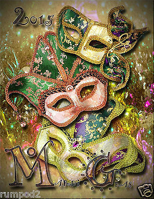 Mardi Gras//New Orleans//Poster//Print//Blue Mask//2015//17x22 inches