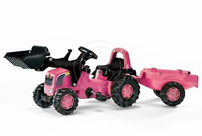 Rolly Toys - PINK GIRLS Ride on Pedal Tractor Loader Matching Trailer Age 2 1/2+