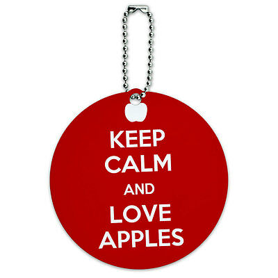 Keep Calm And Love Apples Fall Round Luggage ID Tag Card Suitcase Carry-On