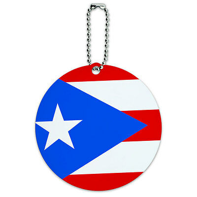 Puerto Rico National Country Flag Round Luggage ID Tag Card Suitcase Carry-On