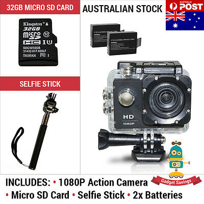32GB Sports Action Camera 1080P Full HD Video + GoPro Compatible Selfie Stick