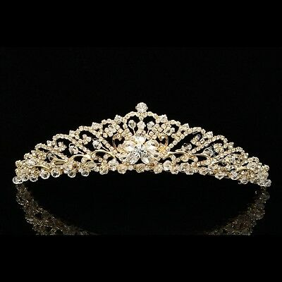Gold Bridal Floral Rhinestones Crystal Wedding Crown Tiara 8758