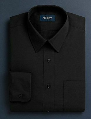 NWT. Size XS - L. Boy's Lay-Down Collar Black Dress Shirt.