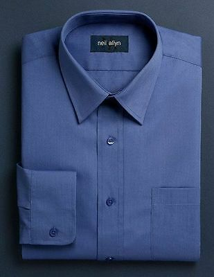 NWT. Size XS - L. Boy's Lay-Down Collar French Blue Dress Shirt.