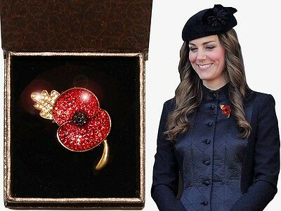 Poppy Broach Red Crystal Gold Plated, Princess Kate, solid metal & Box Valentine
